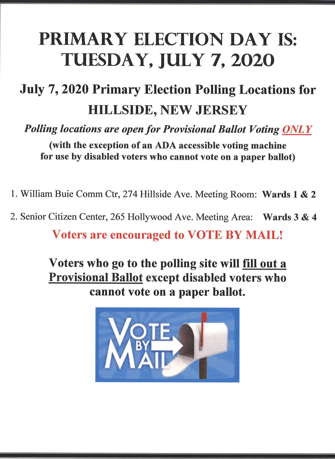 Primary Election Day Tuesday July 7 2020 The Township Of Hillside